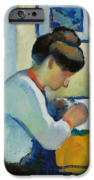 Figures iPhone Cases - Woman Writing iPhone Case by Franz Marc