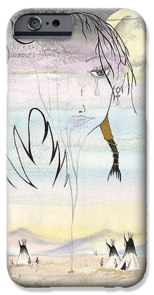 Concept Paintings iPhone Cases - Women in the Smoke iPhone Case by Darren Cannell