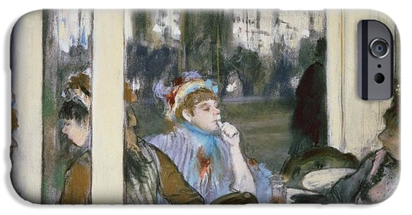 Friends Meeting iPhone Cases - Women on a Cafe Terrace iPhone Case by Edgar Degas