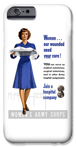 Nurse iPhone Cases - Womens Army Corps - WW2 iPhone Case by War Is Hell Store