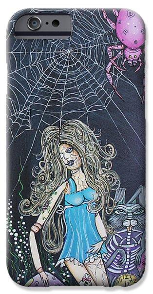 Caricature Artist iPhone Cases - Wonderland Dreams iPhone Case by Laura Barbosa