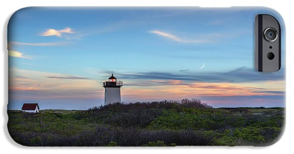 New England Lighthouse iPhone Cases - Wood End Light Sundown iPhone Case by Bill Wakeley