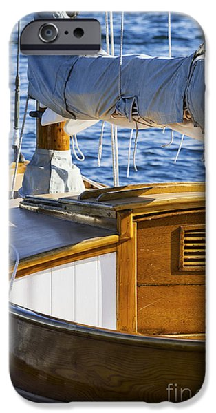 Windjammer iPhone Cases - Wood Sailboat  iPhone Case by John Greim