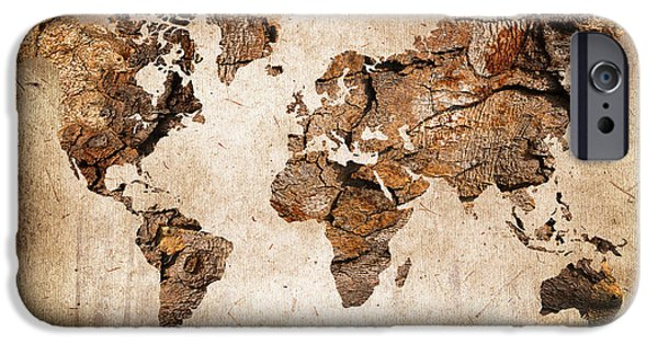 Earth Map Digital iPhone Cases - Wood World map iPhone Case by Delphimages Photo Creations