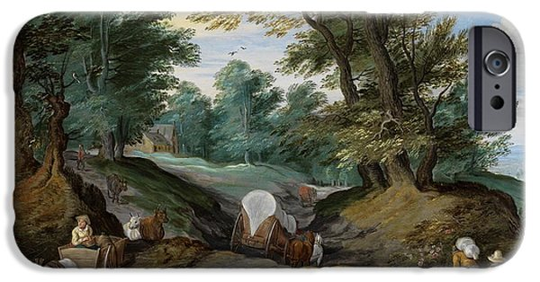 Horse And Cart Paintings iPhone Cases - Wooded landscape with horses carts and to the market attracting farmers iPhone Case by Jan Brueghel the Younger