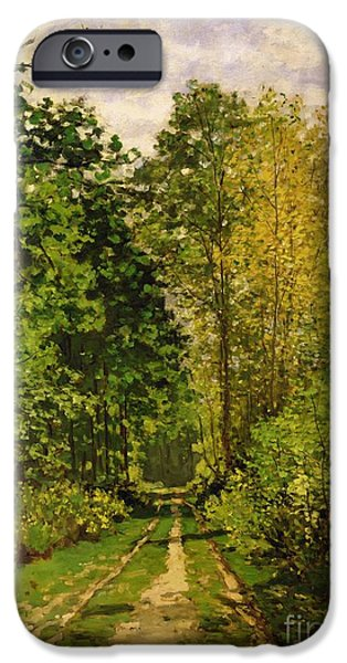 Rural iPhone Cases - Wooded Path iPhone Case by Claude Monet