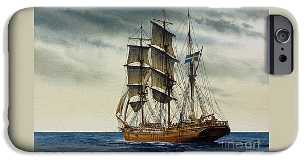 Sailing Ship Framed Prints iPhone Cases - Wooden Barque Under Sail iPhone Case by James Williamson