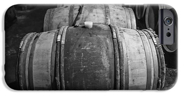 Vintage Wine Lovers Photographs iPhone Cases - Wooden Barrels in a Wine Cellar iPhone Case by Nomad Art And  Design