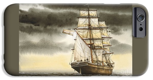 Sailing Ship Framed Prints iPhone Cases - Wooden Brig Under Sail iPhone Case by James Williamson