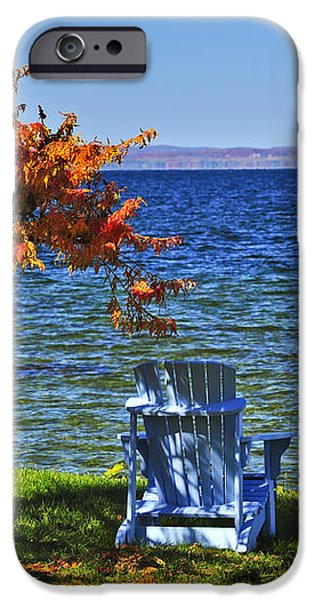 Wooden chairs on autumn lake iPhone Case by Elena Elisseeva