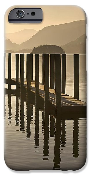 Copy iPhone Cases - Wooden Dock In The Lake At Sunset iPhone Case by John Short