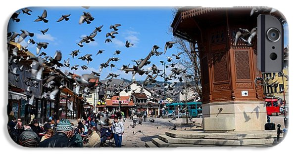 White House iPhone Cases - Wooden Ottoman Sebilj water fountain in Sarajevo Bascarsija Bosnia iPhone Case by Imran Ahmed