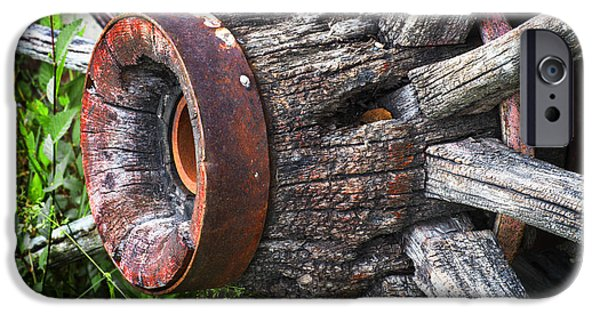 Wooden Wagons iPhone Cases - Wooden Wagon Wheel iPhone Case by Donald  Erickson