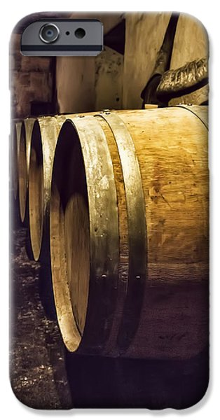 Vintage Wine Lovers Photographs iPhone Cases - Wooden Wine Barrels iPhone Case by Nomad Art And  Design