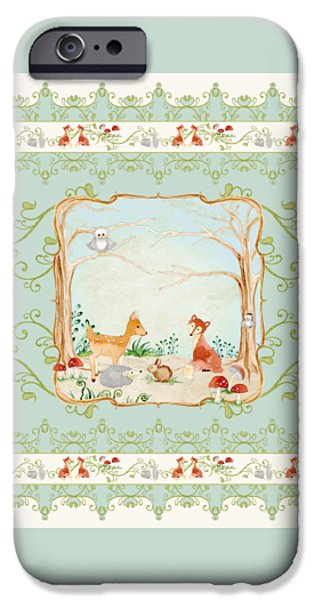Cute Tree Images iPhone Cases - Woodland Fairy Tale - Aqua Blue Forest Gathering of Woodland Animals iPhone Case by Audrey Jeanne Roberts