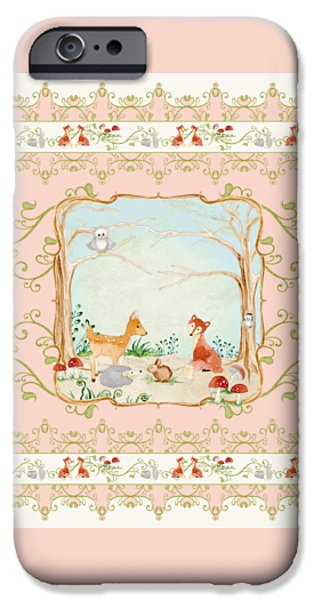 Cute Tree Images iPhone Cases - Woodland Fairy Tale - Blush Pink Forest Gathering of Woodland Animals iPhone Case by Audrey Jeanne Roberts