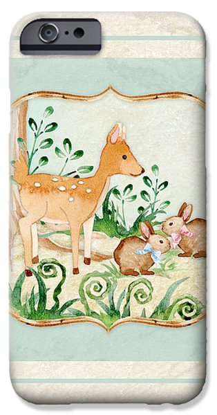Cute Tree Images iPhone Cases - Woodland Fairy Tale - Deer Fawn Baby Bunny Rabbits in Forest iPhone Case by Audrey Jeanne Roberts