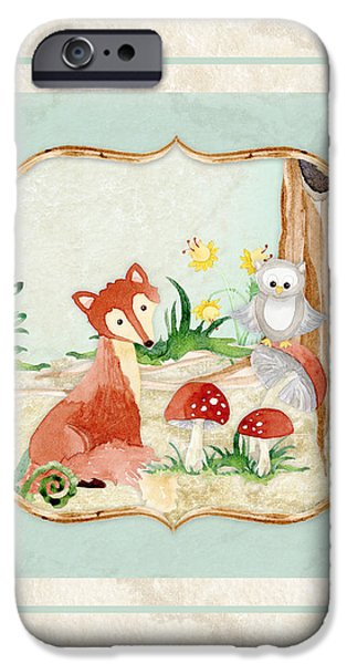 Fox Paintings iPhone Cases - Woodland Fairy Tale - Fox Owl Mushroom Forest iPhone Case by Audrey Jeanne Roberts