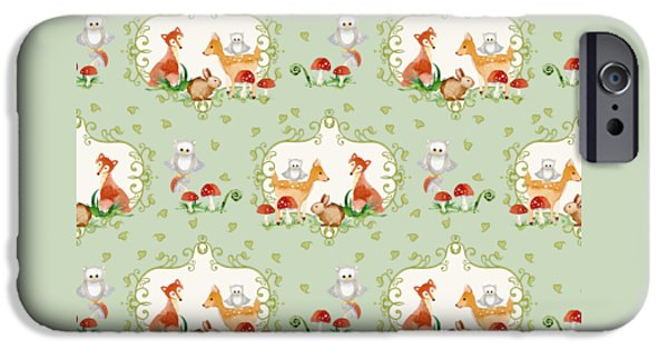 Rust iPhone Cases - Woodland Fairy Tale - Mint Green Sweet Animals Fox Deer Rabbit owl - Half Drop Repeat iPhone Case by Audrey Jeanne Roberts