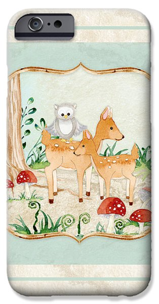 Cute Tree Images iPhone Cases - Woodland Fairy Tale - Owl on Deer Fawns Back in Forest iPhone Case by Audrey Jeanne Roberts