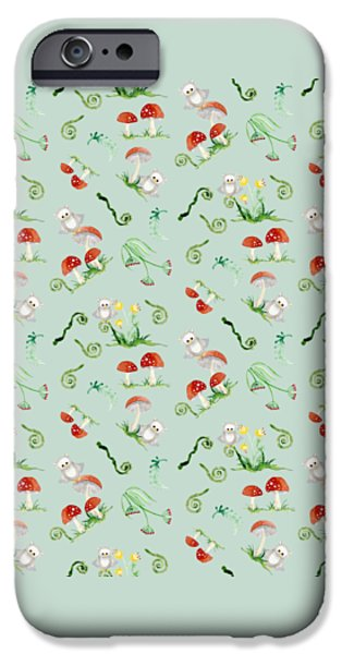 Hand-watercolored iPhone Cases - Woodland Fairy Tale - Red Mushrooms n Owls iPhone Case by Audrey Jeanne Roberts
