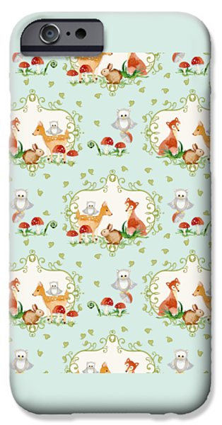 Fox Paintings iPhone Cases - Woodland Fairy Tale - Sweet Animals Fox Deer Rabbit owl - Half Drop Repeat iPhone Case by Audrey Jeanne Roberts