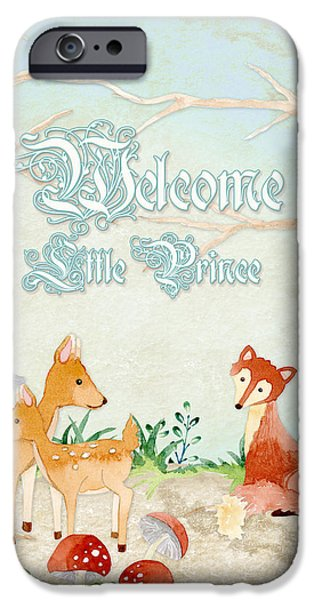 Cute Tree Images iPhone Cases - Woodland Fairy Tale - Welcome Little Prince iPhone Case by Audrey Jeanne Roberts