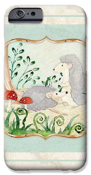 Cute Tree Images iPhone Cases - Woodland Fairy Tale - Woodchucks in the Forest w Red Mushrooms iPhone Case by Audrey Jeanne Roberts