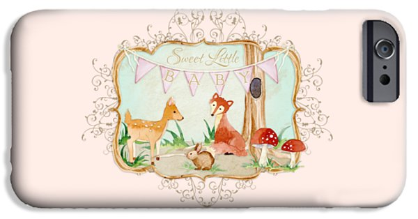 Cute Tree Images iPhone Cases - Woodland Fairytale - Banner Sweet Little Baby iPhone Case by Audrey Jeanne Roberts