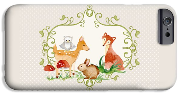 Little Girl iPhone Cases - Woodland Fairytale - Grey Animals Deer Owl Fox Bunny n Mushrooms iPhone Case by Audrey Jeanne Roberts