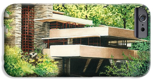 Historic Site Paintings iPhone Cases - Fallingwater-a Woodland Retreat by Frank Lloyd Wright iPhone Case by Barbara Jewell