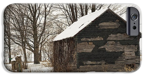 Shed iPhone Cases - Woodshed in Winter iPhone Case by Elaine Mikkelstrup