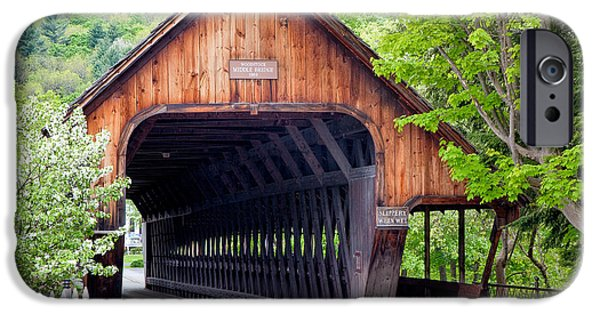 Covered Bridge iPhone Cases - Woodstock Middle Bridge iPhone Case by Susan Cole Kelly