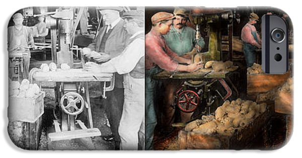 Strange iPhone Cases - WoodWorking - Toy - The toy makers 1914 - Side by side iPhone Case by Mike Savad