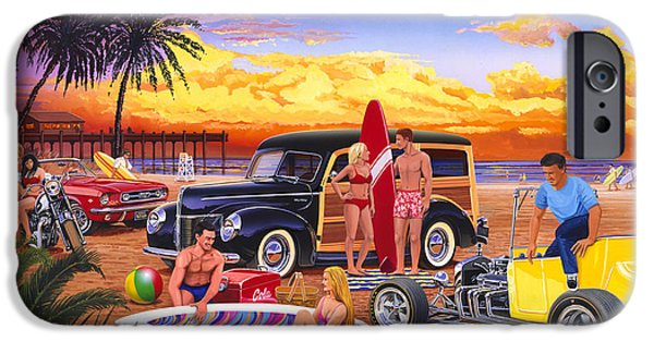 Station Wagon iPhone Cases - Woody Beach iPhone Case by Bruce kaiser