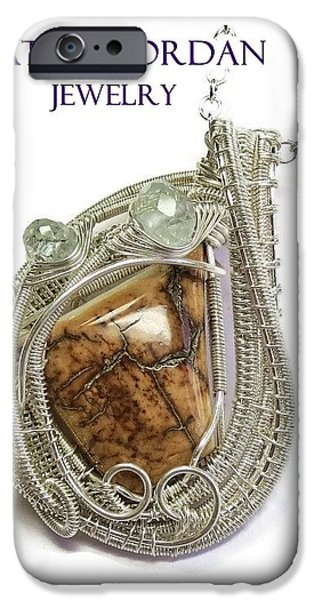 Jordan Jewelry iPhone Cases - Woolly Mammoth Tusk Pendant in Sterling Silver with Aquamarine WMPSS1 iPhone Case by Heather Jordan