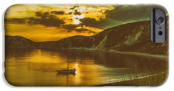 Ocean Sunset iPhone Cases - Worbarrow Bay at Twilight iPhone Case by Roman Grac