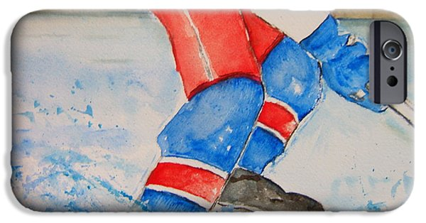 Hockey Paintings iPhone Cases - WORK for the Puck iPhone Case by Elaine Duras