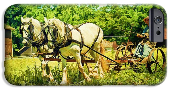 The Horse iPhone Cases - Work Horses And Plow Reenactment iPhone Case by Geraldine Scull