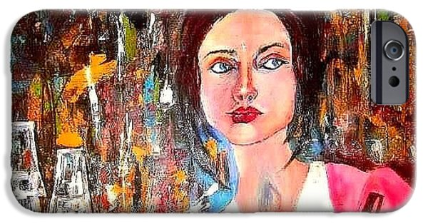 Young Paintings iPhone Cases - Working Girl iPhone Case by Esther Woods