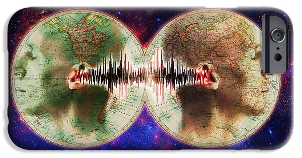 Voice Dialogue iPhone Cases - World Communications iPhone Case by George Mattei