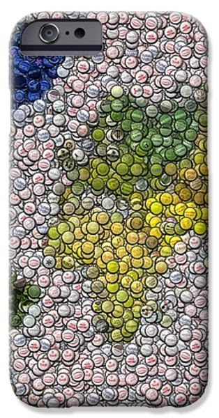 World Map Bottle Cap Mosaic iPhone Case by Paul Van Scott