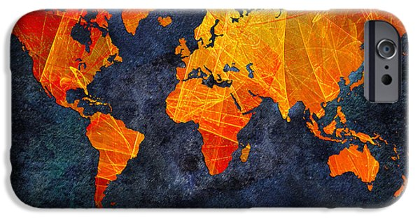 Concept Mixed Media iPhone Cases - World Map - Elegance Of The Sun - Fractal - Abstract - Digital Art 2 iPhone Case by Andee Design
