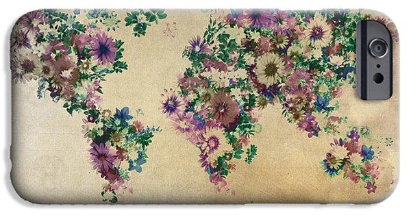 Abstract Flowers Images iPhone Cases - World Map Floral 12 iPhone Case by MB Art factory