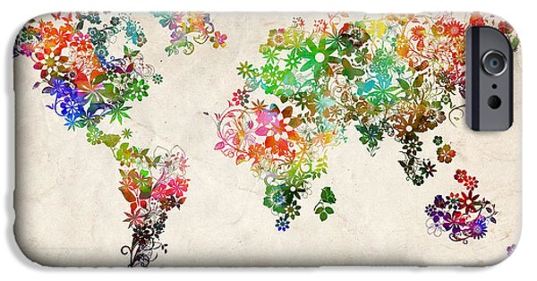 Abstract Flowers Images iPhone Cases - World Map Floral 2 iPhone Case by MB Art factory