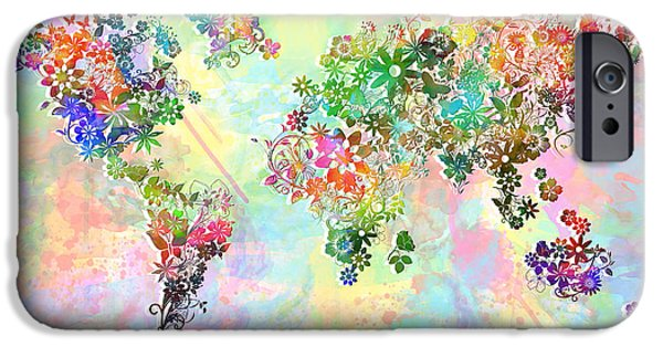 Abstract Flowers Images iPhone Cases - World Map Floral 3 iPhone Case by MB Art factory
