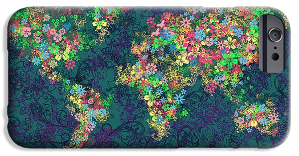 Abstract Flowers Images iPhone Cases - World Map Floral 4 iPhone Case by MB Art factory