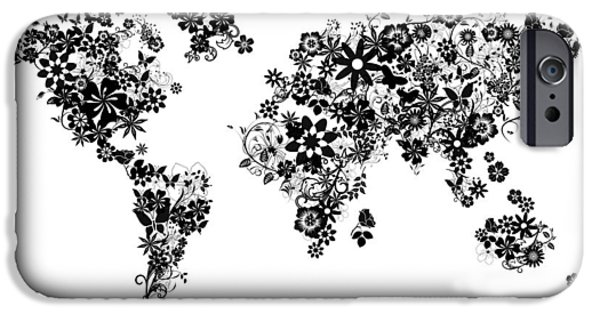 Abstract Flowers Images iPhone Cases - World Map Floral 5 iPhone Case by MB Art factory