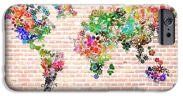 Abstract Flowers Images iPhone Cases - World Map Floral 6 iPhone Case by MB Art factory