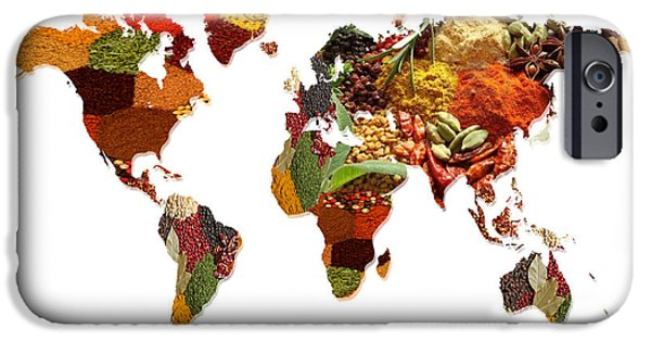 Sheets iPhone Cases - World Map Of Spices And Herbs  iPhone Case by Sheela Ajith